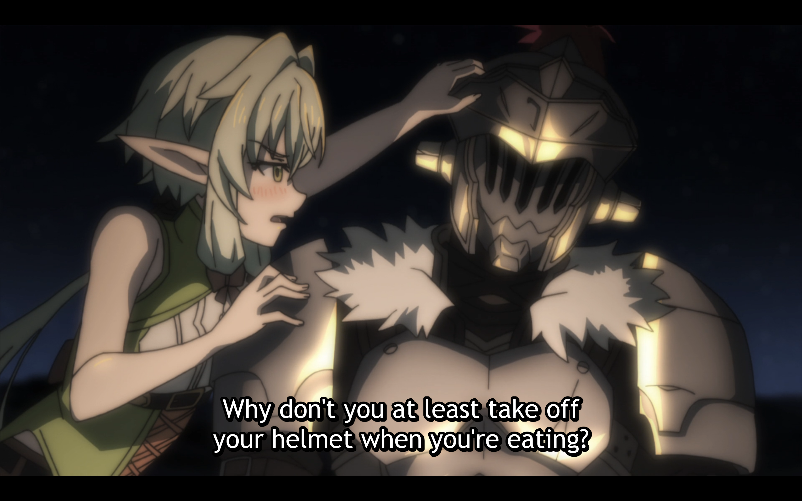 The elf constantly tries to get under goblin slayers helmet this is not a euphemism and generally they learn a bit more about one another as they